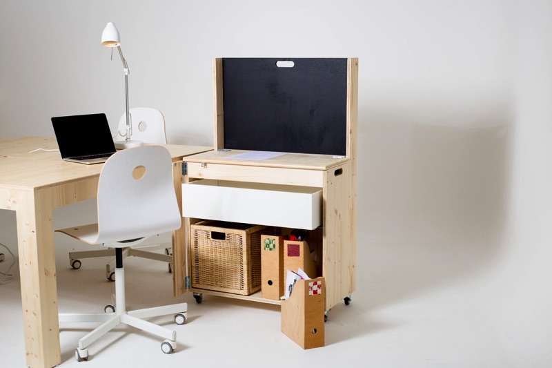 module M, prototype open source Make it Marseille, mobilier mobile rangement bureau à roulette