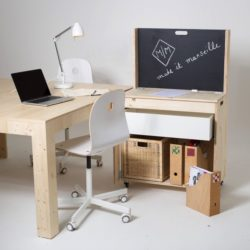 module M, prototype open source Make it Marseille, mobilier mobile rangement bureau à roulette